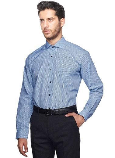 Altınyıldız Classics Desenli Slim Fit Gömlek Mavi